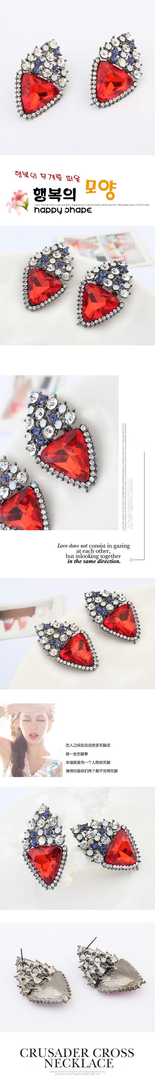 欧美时尚大气宝石耳钉