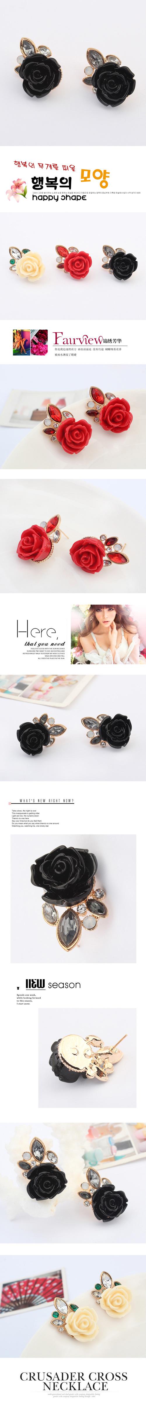 欧美时尚复古玫瑰花耳钉(黑色)