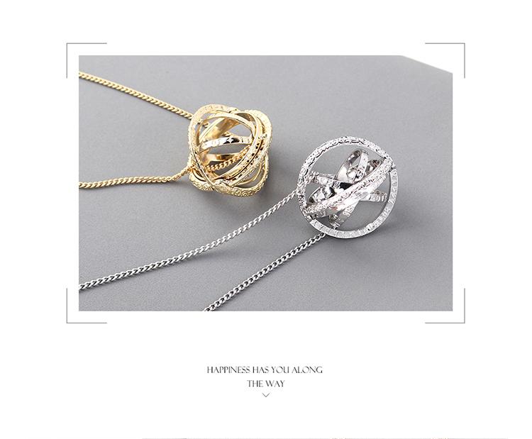 镀真金毛衣链--天文球项链(白金)