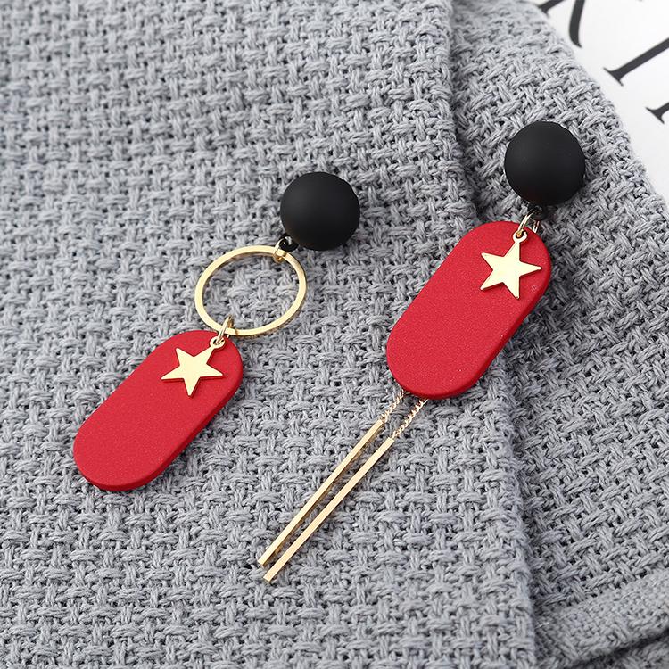欧美镀真金大气百搭简约不对称小星星S925银针(14k金+黑+红)