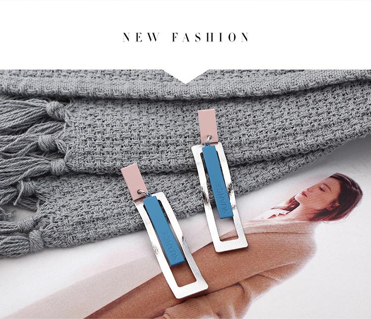 韩版时尚简约创意镀真金波浪形长方形S925银针(白金+蓝+粉)