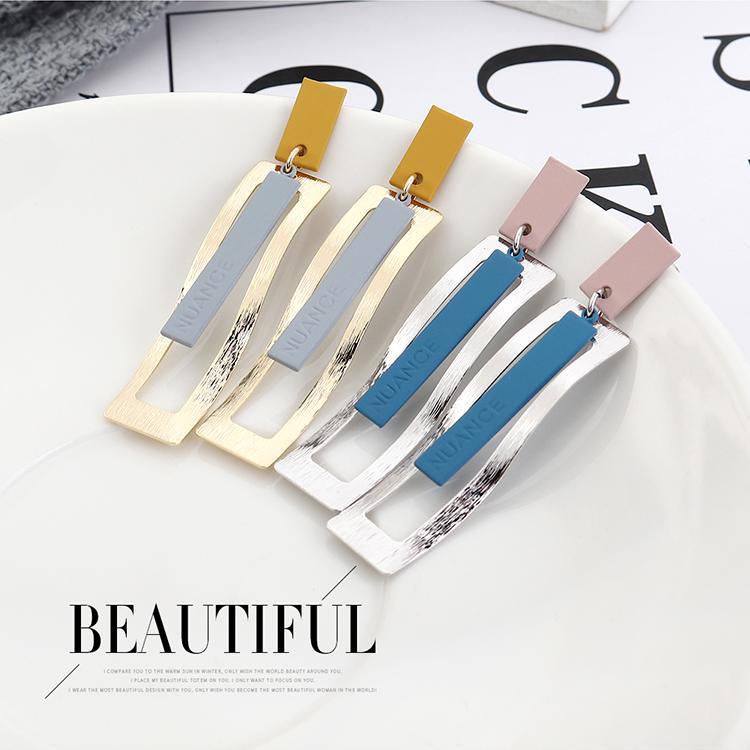 韩版时尚简约创意镀真金波浪形长方形S925银针(14K金+黄+灰)