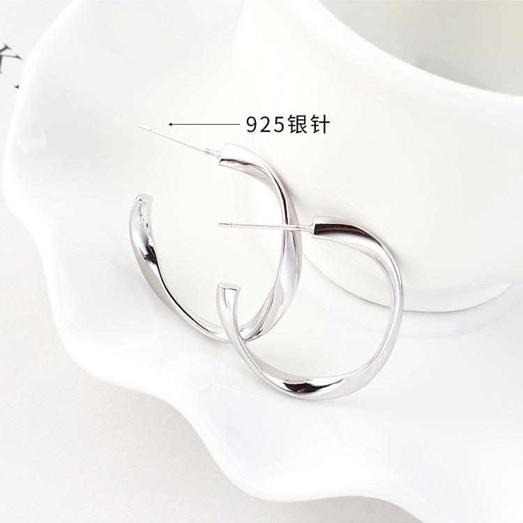 欧美时尚创意百搭风镀真金半镂空S925银针(14K金)