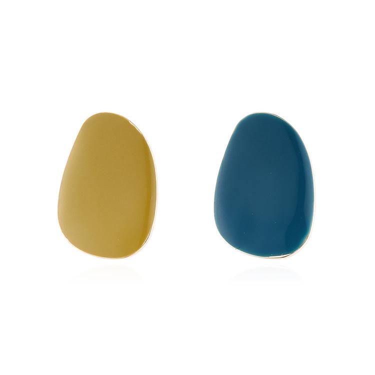 欧美时尚简约小清新镀真金滴油S925银针(黄+蓝)