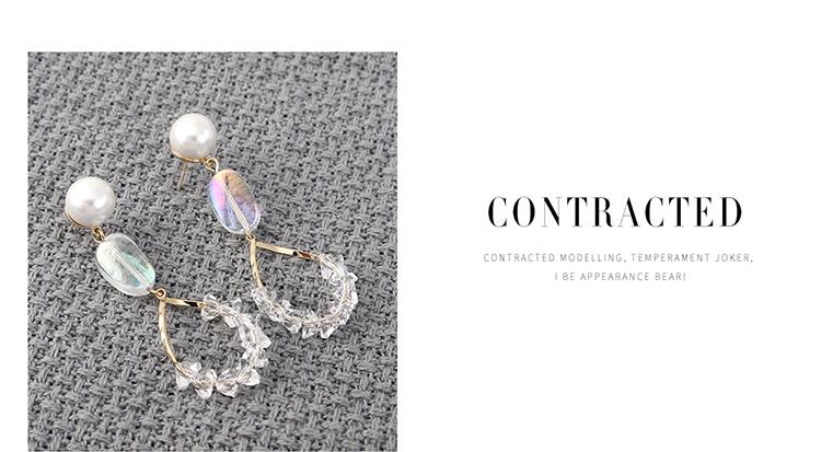 韩版复古时尚简约镀真金水晶玻璃镂空S925银针(14K金)