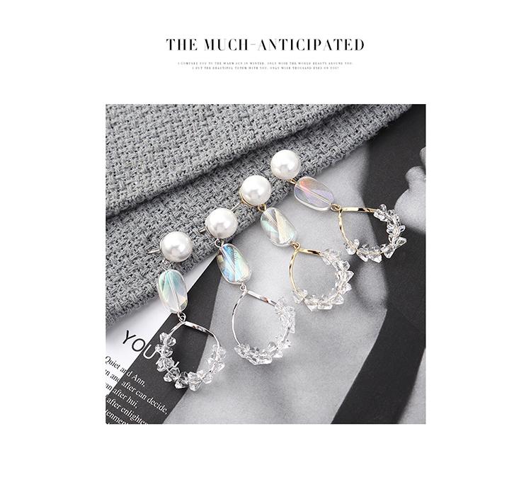 韩版复古时尚简约镀真金水晶玻璃镂空S925银针(白金)