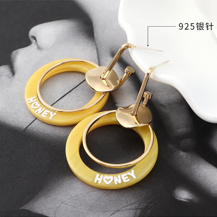 韩版时尚小清新百搭风镀真金双圈镂空S925银针(白色)