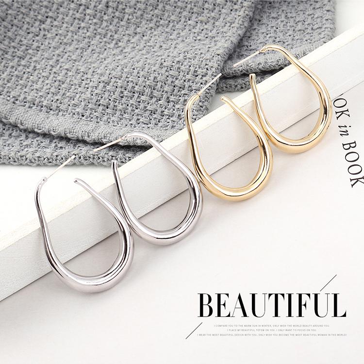 韩版时尚气质简约镀真金圈圈镂空S925银针(14K金)