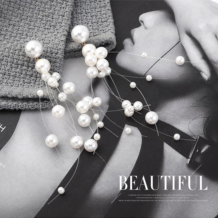 韩版夸张创意个性镀真金百搭长款雪花珍珠S925银针