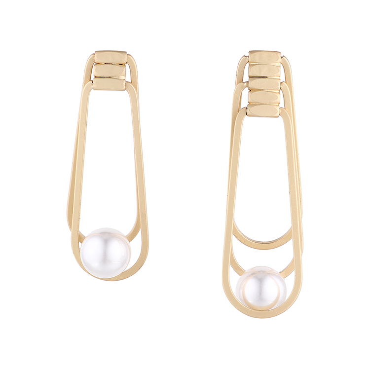 欧美时尚复古小清新镀真金冷淡风镂空珍珠S925银针