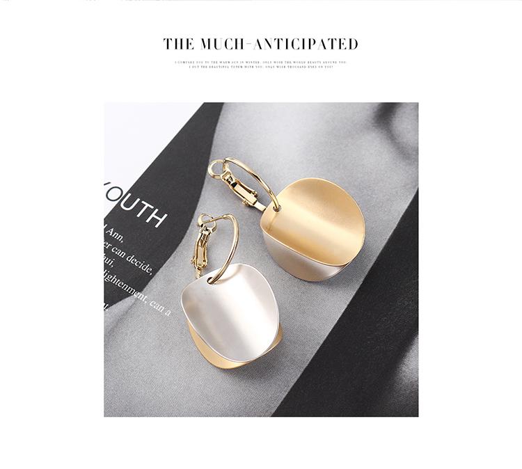 韩版创意复古时尚镀真金凹凸圆片S925银针