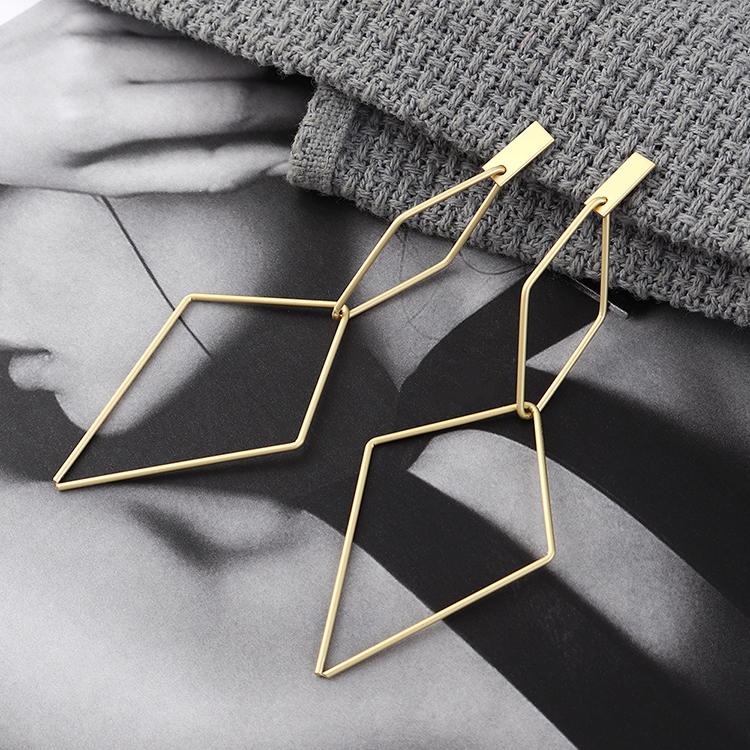 欧美夸张时尚简约镀真金冷淡风倒三角镂空S925银针