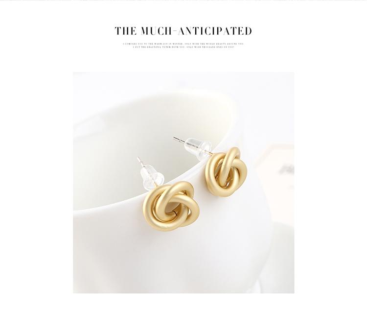 欧美时尚创意冷淡风镀真金百搭缠绕小花朵S925银针