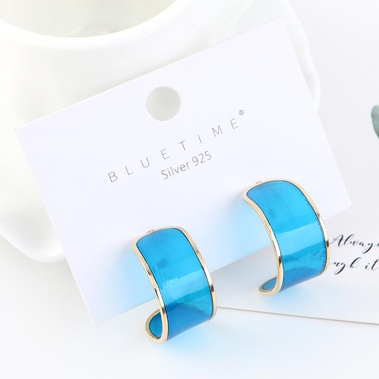 韩版简约时尚气质镀真金个性百搭半月S925银针(蓝色)