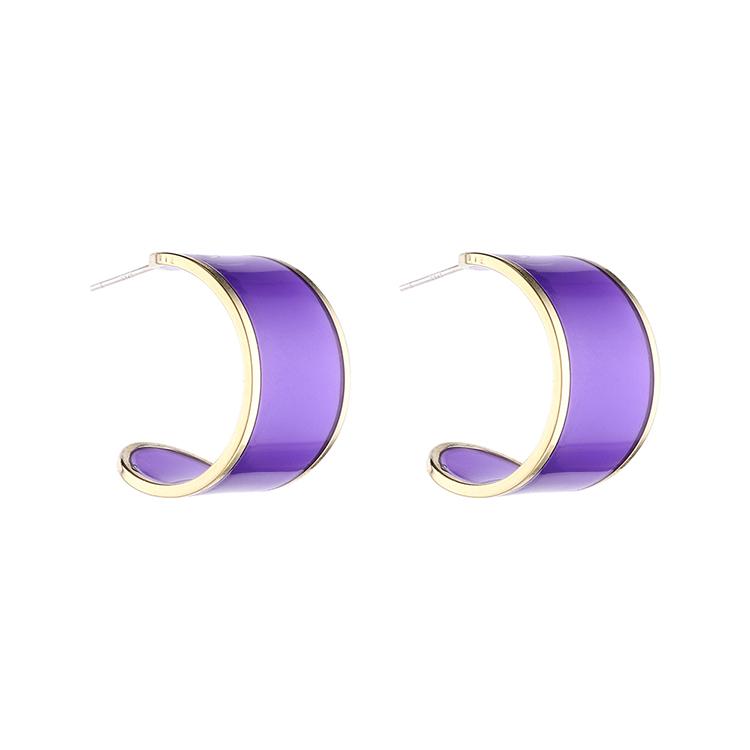 韩版简约时尚气质镀真金个性百搭半月S925银针(紫色)