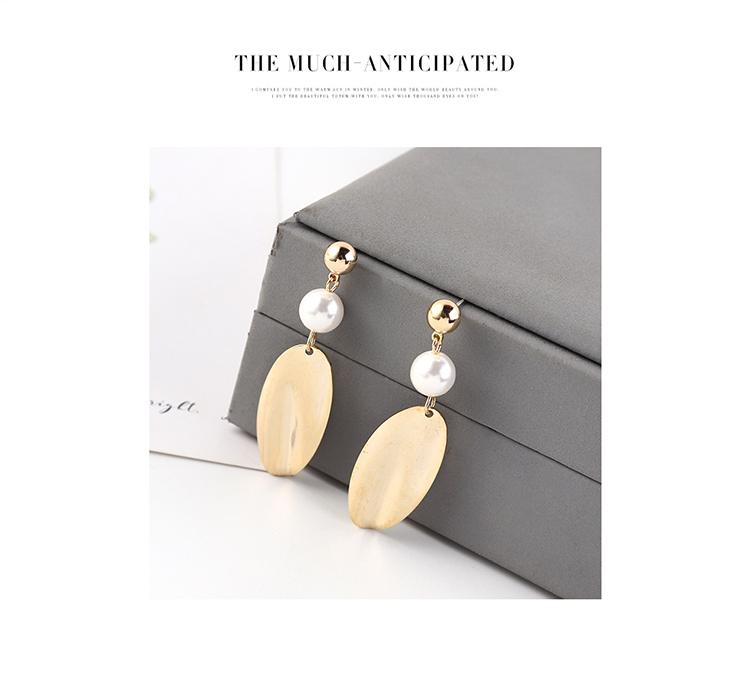 欧美简约复古时尚镀真金个性气质珍珠荷叶片S925银针