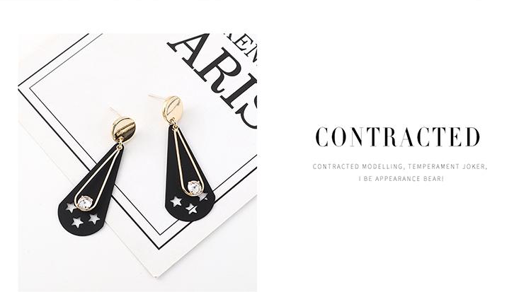 欧美创意时尚小清新镀真金磨砂个性百搭小星星S925银针(黑色)