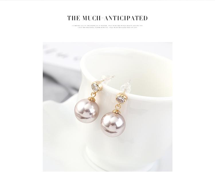 韩版简约小清新百搭镀真金时尚复古个性小圆球珍珠S925银针
