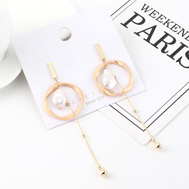欧美时尚百搭冷淡风镀真金气质流苏个性不规则圆圈珍珠S925银针