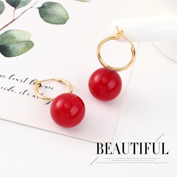 欧美创意夸张个性镀真金时尚百搭复古大圆球耳环