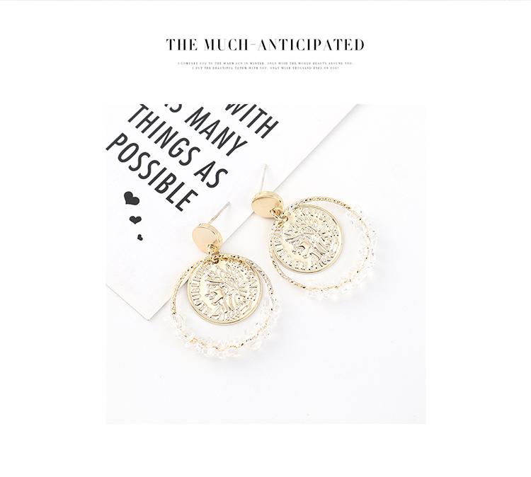 欧美时尚创意百搭镀真金简约个性复古头像印章大圆圈镂空S925银针