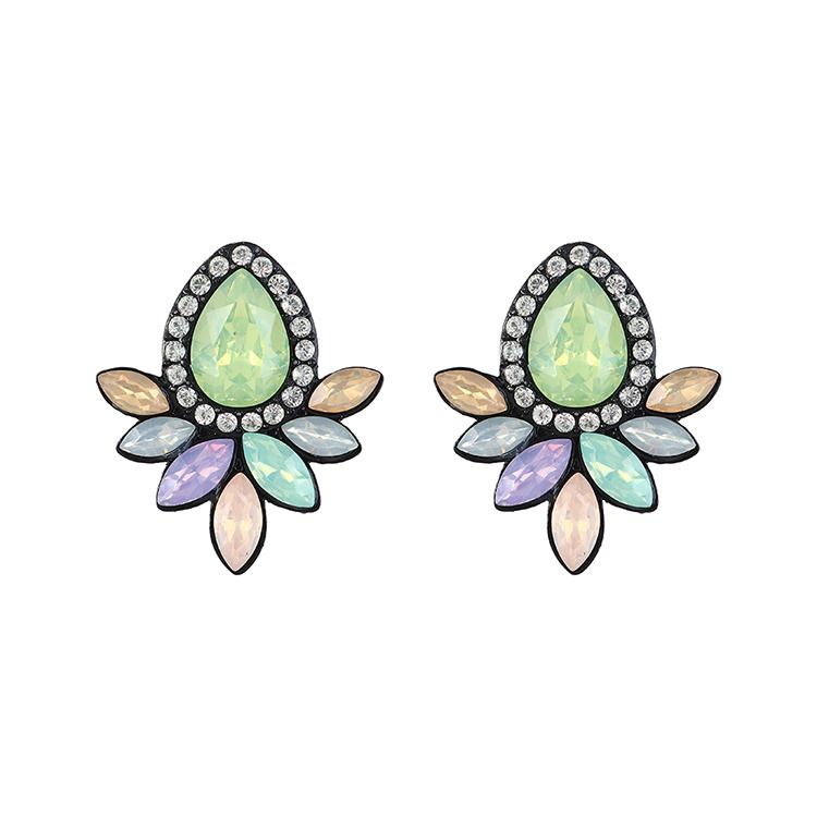 韩版复古时尚创意简约小清新花朵耳环(青色)
