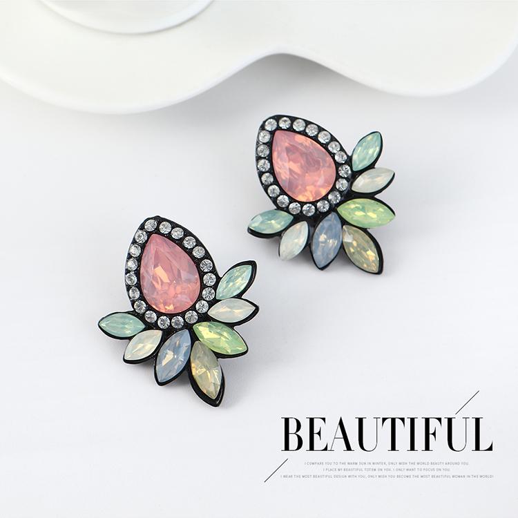 韩版复古时尚创意简约小清新花朵耳环(黑色)