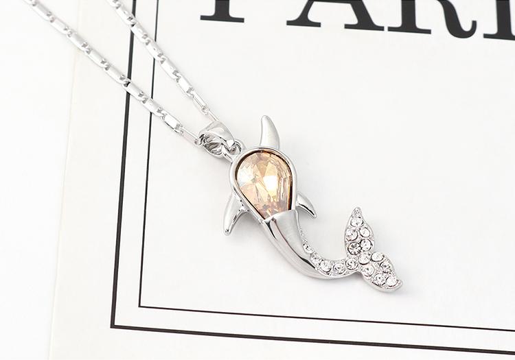 奥地利水晶项链--小鲸鱼(玫红)