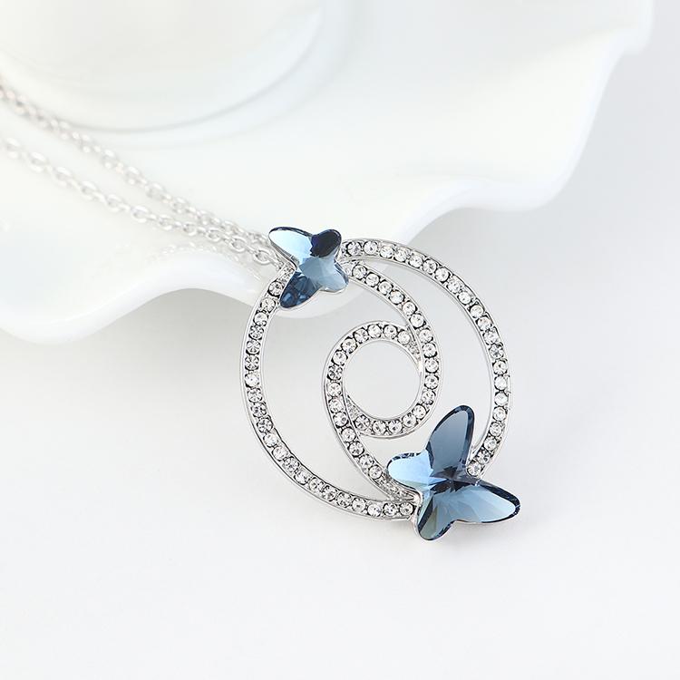 奥地利水晶项链--蝶翼双飞(牛仔蓝)