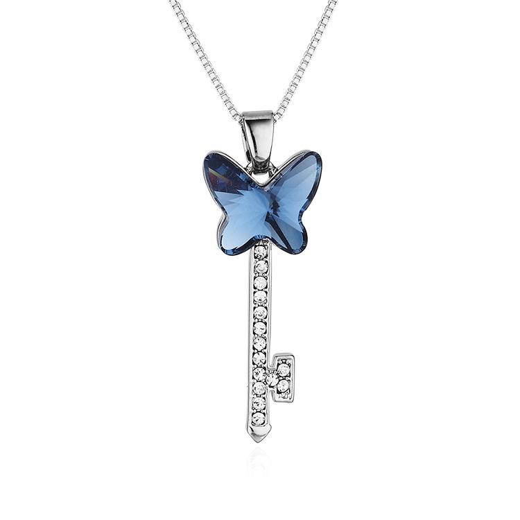 奥地利水晶项链--蝶翼之钥(牛仔蓝)