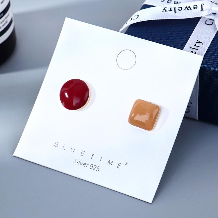 韩版镀真金百搭小众时尚小清新流行画油S925银针(朱红+咖啡)