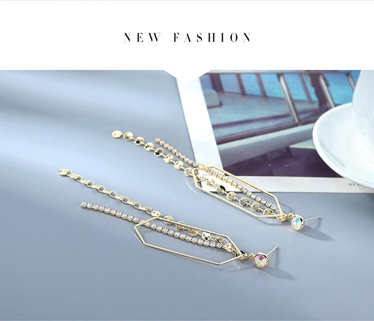 欧美镀真金长款百搭创意夸张气质大牌时尚流行爆款水晶流苏S925银针