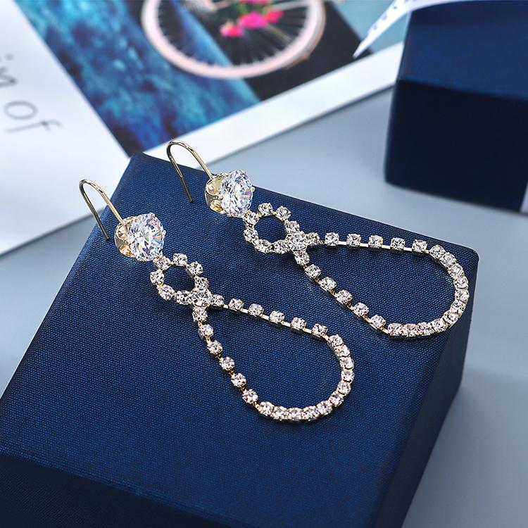 韩版镀真金流行爆款百搭个性气质镂空锆石水晶耳环