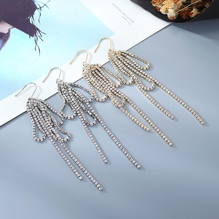 欧美镀真金创意夸张百搭时尚个性水晶流苏耳环(14K金)