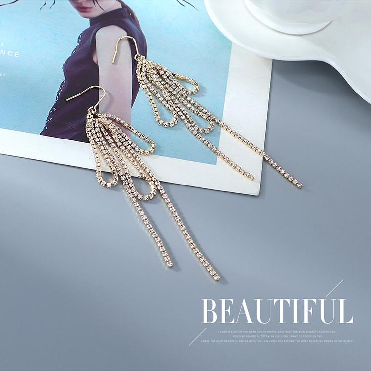 欧美镀真金创意夸张百搭时尚个性水晶流苏耳环(白金)