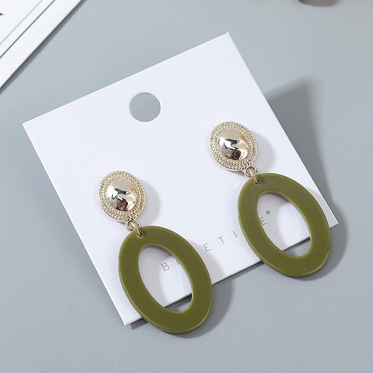 韩版时尚风靡气质大牌个性树脂镂空耳钉(深绿)