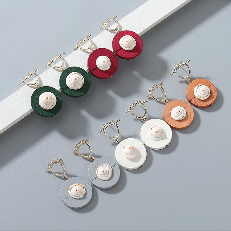 韩版东大门时尚个性百搭创意木头贝壳耳钉(咖啡色)