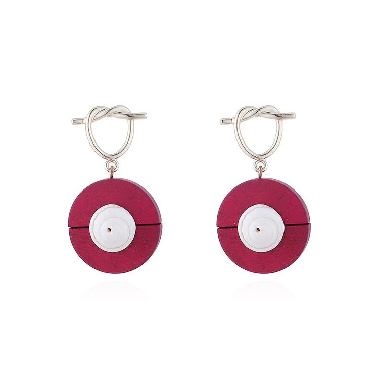 韩版东大门时尚个性百搭创意木头贝壳耳钉(红色)