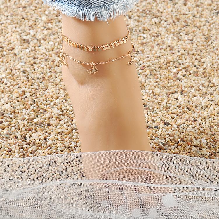 欧美时尚个性创意ins潮小蝴蝶双层脚链