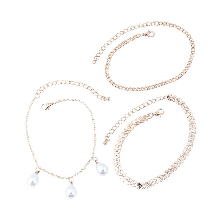 韩版时尚气质百搭复古小仙女珍珠多层脚链