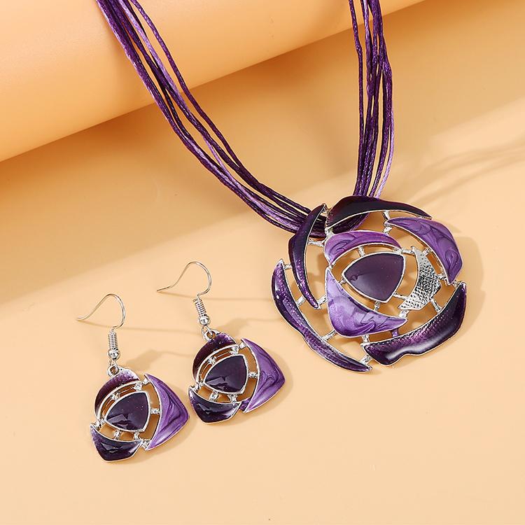 韩版时尚复古百搭民族风画油套装(紫色)