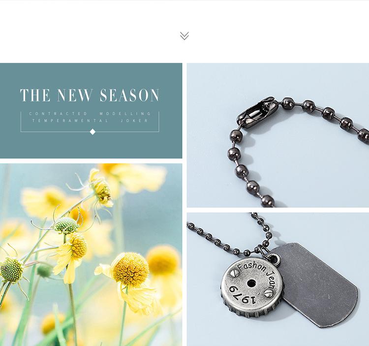 韩版东大门时尚个性创意ins潮瓶盖男士项链