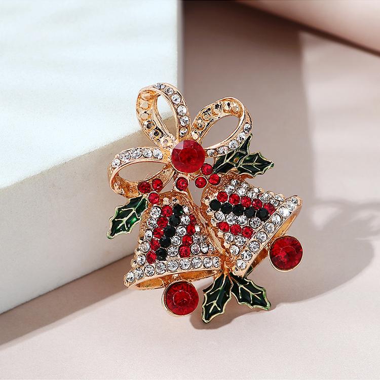 圣诞系列小清新甜美百搭ins潮圣诞双铃铛胸针