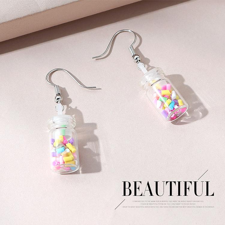 欧美小清新百搭流行时尚爆款许愿瓶耳环