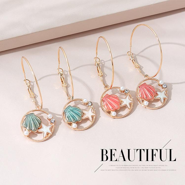 欧美时尚创意百搭小清新简约海星贝壳珍珠耳环(粉红)