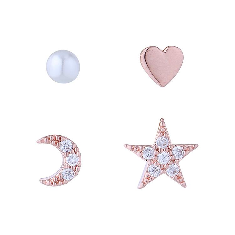 欧美百搭小众流行小清新星星月亮珍珠耳环