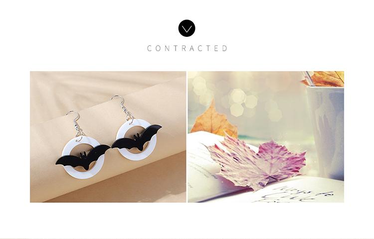 欧美创意百搭流行小清新黑蝙蝠耳环