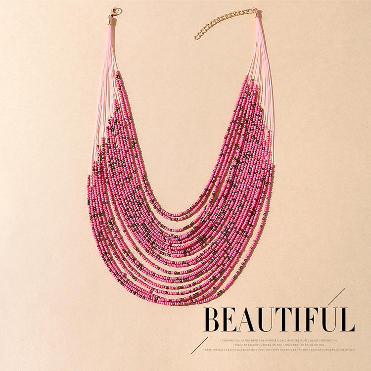 欧美创意夸张百搭个性米珠项链(粉色)