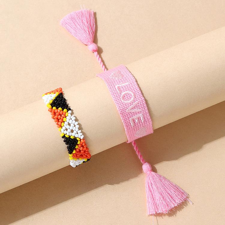 韩版民族风百搭创意小清新手链套(粉色)