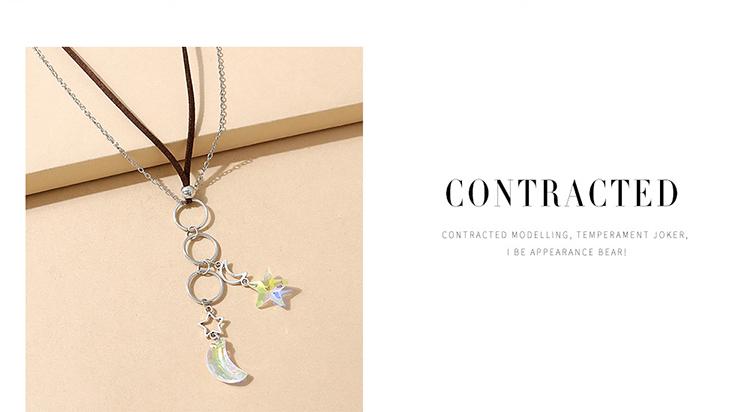 韩版气质创意小清新百搭时尚水晶星月毛衣链
